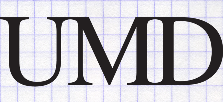 "The letters ""UMD"" on graph paper."